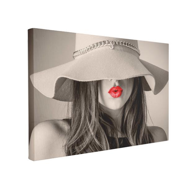 Tablou Canvas Red Lips, 50 x 70 cm, 100% Bumbac