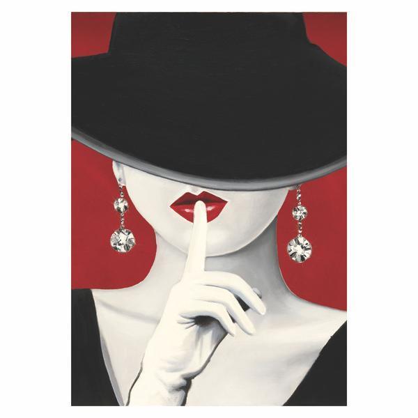 Tablou Canvas Haute Chapeau Rouge I, 60 x 90 cm, 100% Bumbac