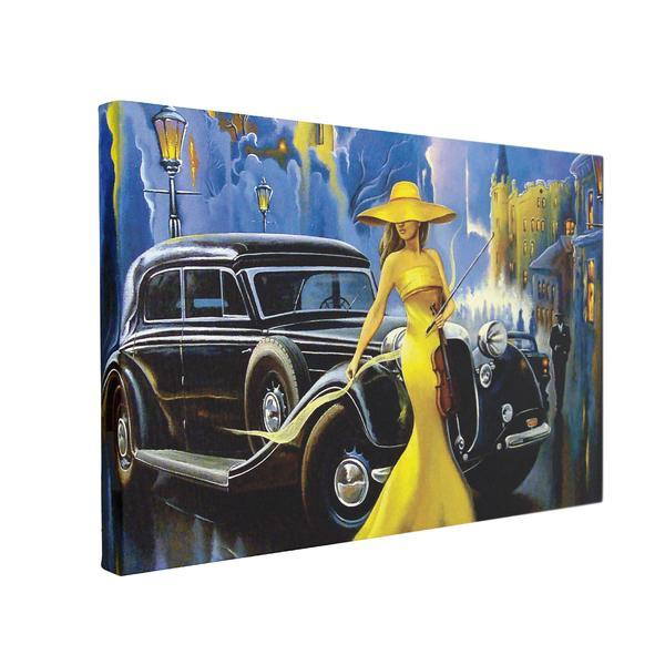 Tablou Canvas Car and Girl Old City, 60 x 90 cm, 100% Poliester