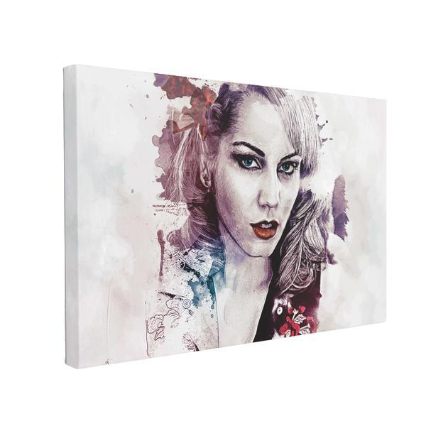 Tablou Canvas Abstract Girl Painted, 50 x 70 cm, 100% Bumbac