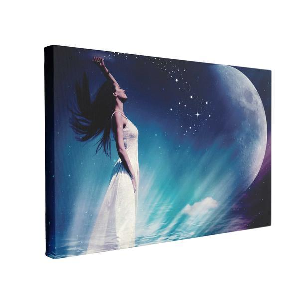 Tablou Canvas Femeie, Stele, Lună, 50 x 70 cm, 100% Poliester