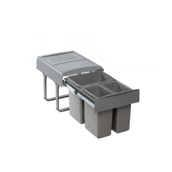 Cos de gunoi Mega incorporabil, colectare selectiva, cu 1 compartiment x15 litri si 2x 7 litri