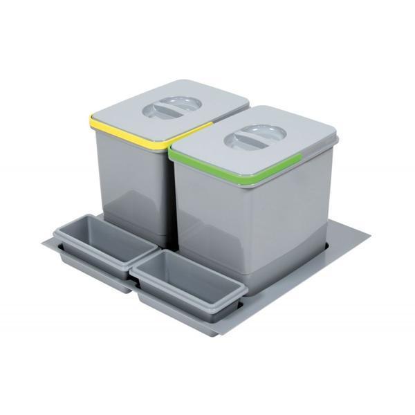 Cos de gunoi incorporabil in sertar Practiko, colectare selectiva, 2 x 12 l ,H:230 mm, pentru corp de 600 mm latime – Maxdeco