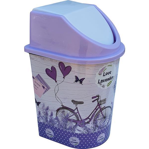 Cos de gunoi 5,5 litri, cu capac batant, cu imprimeu lavanda – Maxdeco