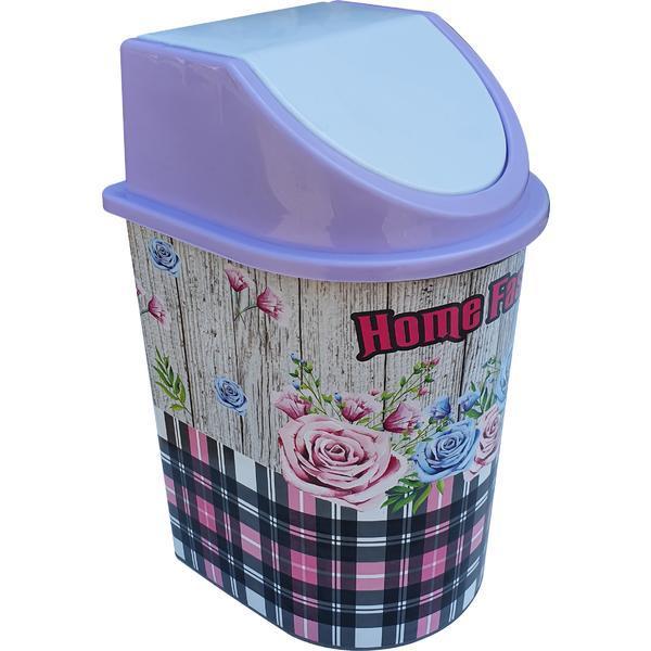 Cos de gunoi 5,5 litri, cu capac batant, cu imprimeu trandafiri – Maxdeco