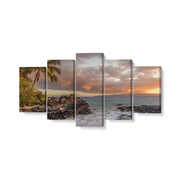 Tablou MultiCanvas 5 piese, Palmieri Langa Mare, 100 x 50 cm, 100% Bumbac