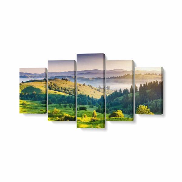 Tablou MultiCanvas 5 piese, Tree Mountain, 200 x 100 cm, 100% Bumbac
