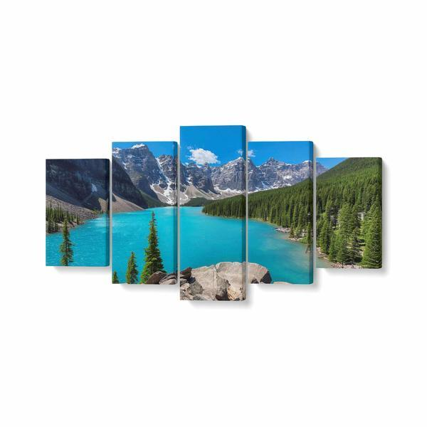 Tablou MultiCanvas 5 piese, Moraine Lake, 200 x 100 cm, 100% Poliester