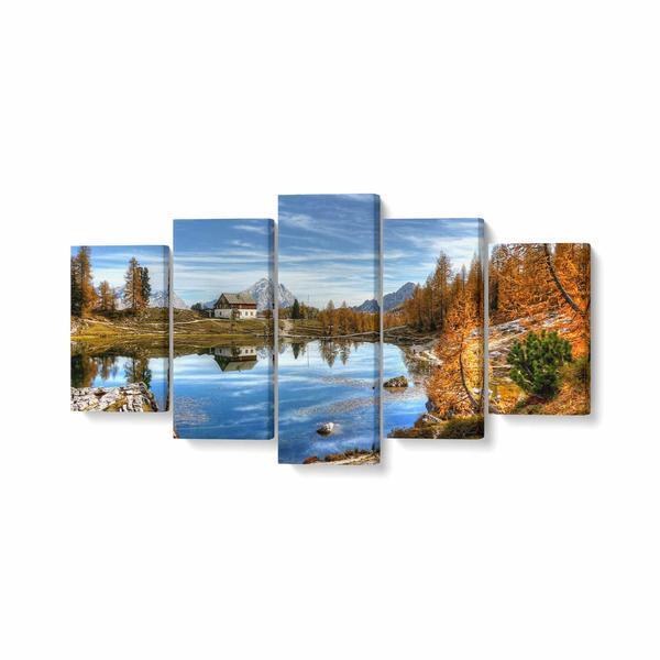 Tablou MultiCanvas 5 piese, Dolomites Mountain, 100 x 50 cm, 100% Poliester