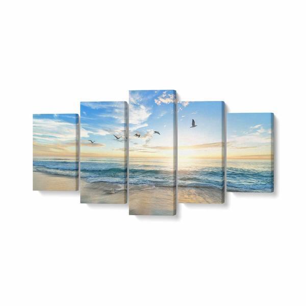 Tablou MultiCanvas 5 piese, Pasari Care Zboara Peste Mare, 200 x 100 cm, 100% Poliester