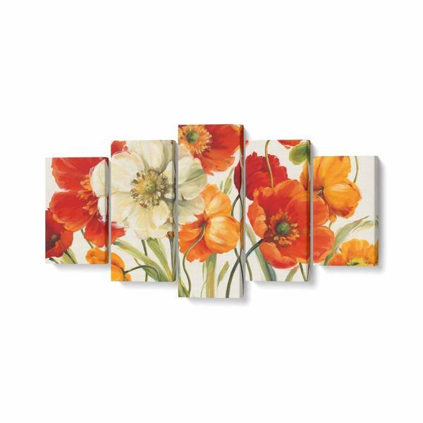 Tablou MultiCanvas 5 piese, Poppies Melody I, 200 x 100 cm, 100% Bumbac