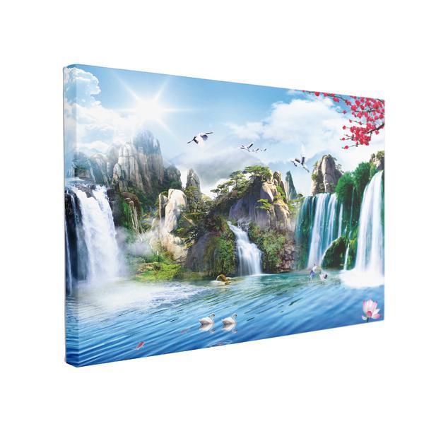 Tablou Canvas Pictura Murala cu Cascade, 60 x 90 cm, 100% Bumbac
