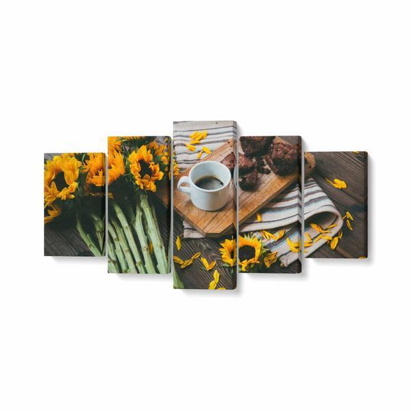 Tablou MultiCanvas 5 piese, Cafea Langa Floarea Soarelui, 100 x 50 cm, 100% Poliester