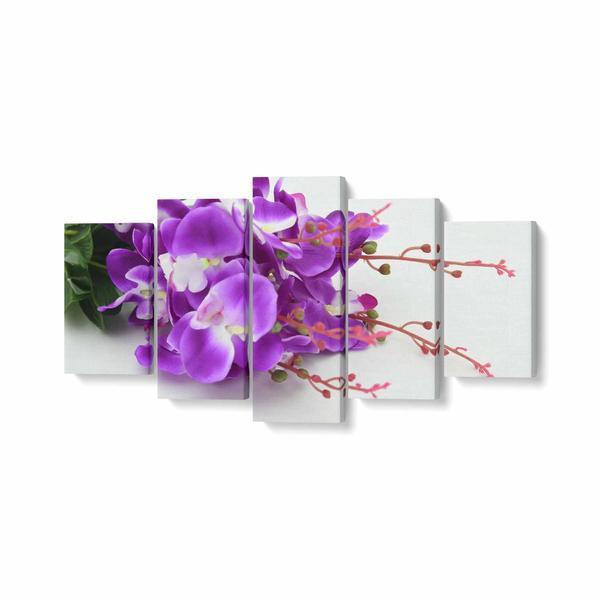 Tablou MultiCanvas 5 piese, Buchet cu Orhidee Mov, 100 x 50 cm, 100% Poliester