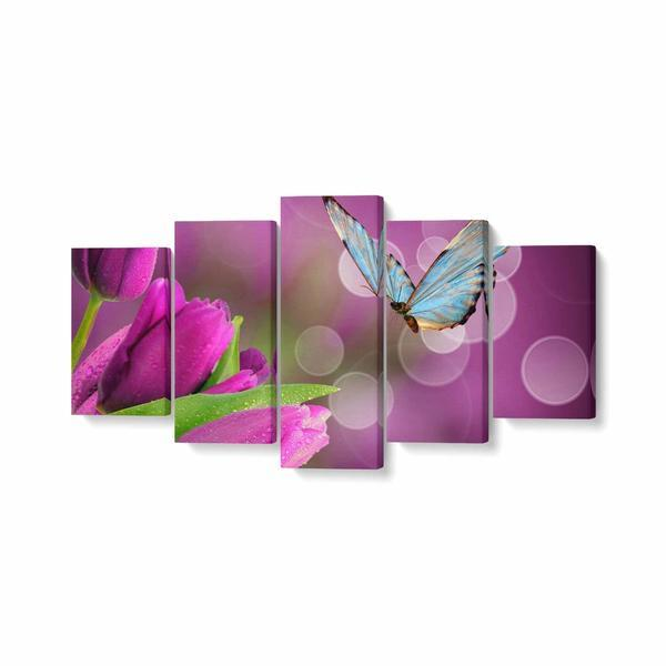 Tablou MultiCanvas 5 piese, Fluture si Lalele Mov, 100 x 50 cm, 100% Poliester