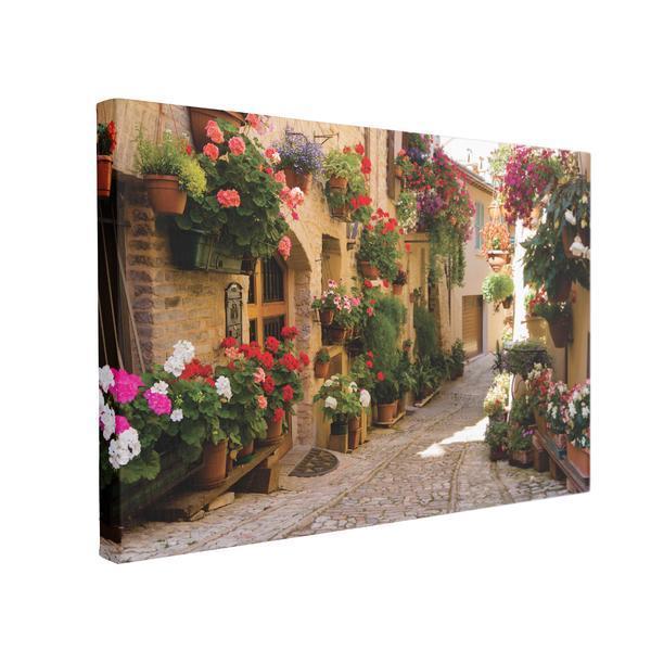 Tablou Canvas Alee Medievala cu Flori in Spello, 40 x 60 cm, 100% Poliester
