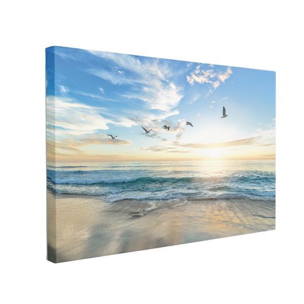 Tablou Canvas Pasari Care Zboara Peste Mare, 70 x 100 cm, 100% Poliester
