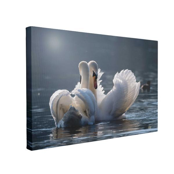 Tablou Canvas Lebede indragostite, 70 x 100 cm, 100% Bumbac