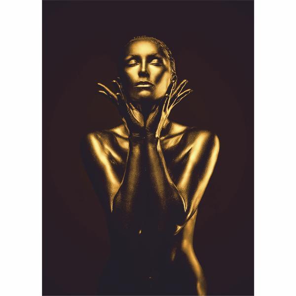 Tablou Canvas Gold Woman, 60 x 90 cm, 100% Bumbac
