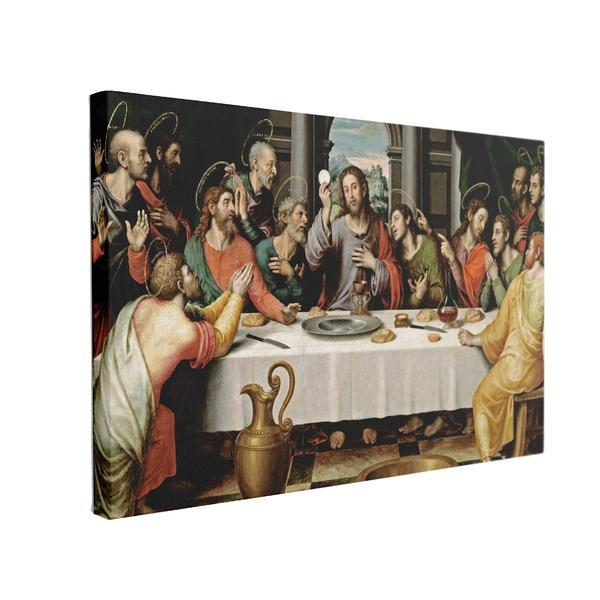 Tablou Canvas Cina Cea de Taina by Juan de Juanes, 50 x 70 cm, 100% Bumbac