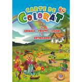 Carte de colorat jumbo 5 cu animale, fructe, legume si abtibilduri, editura Eurobookids