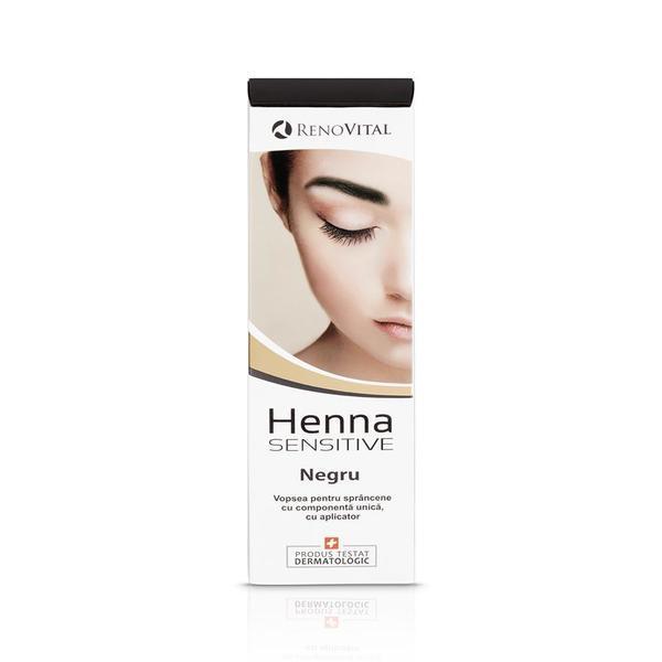 Vopsea crema pentru sprancene,negru, Henna Sensitive, 6ML imagine produs