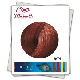 Vopsea Permanenta - Wella Professionals Koleston Perfect nuanta 6/74 blond inchis castaniu roscat