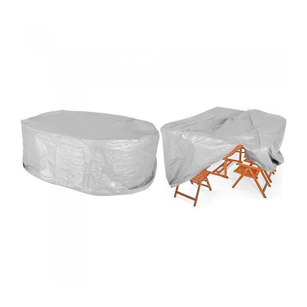 Husa Prelata protectie set mobilier gradina 8+1, Gri argintiu, 242 x 162 x 100 cm – Caerus Capital