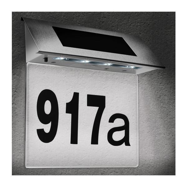 Numar de casa LED cu incarcare solara, Cifre 0-9, Litere A-H – Caerus Capital