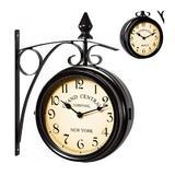 Ceas de perete gara vintage cu 2 fete, Negru, 17 cm  Caerus Capital