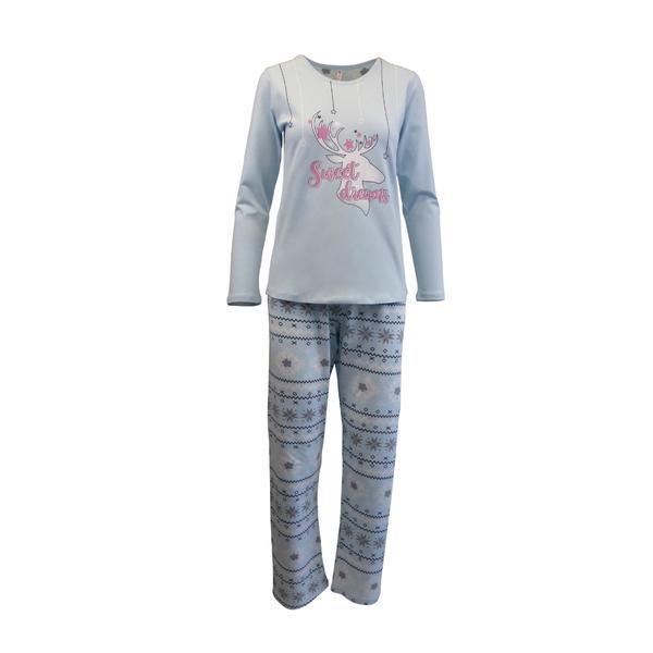 Pijama dama, Univers Fashion, bluza turcoaz cu imprimeu 'Sweet Dreams', pantaloni albastru deschis cu imprimeu etnic, L