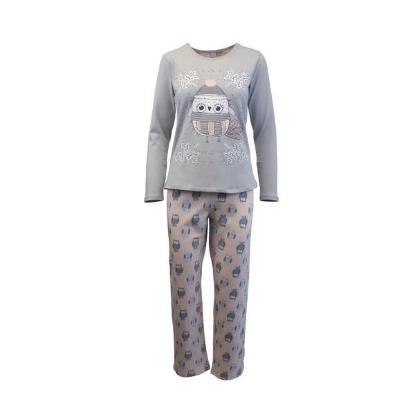 Pijama dama, Univers Fashion, bluza gri si pantaloni roz cu imprimeu bufnita, L
