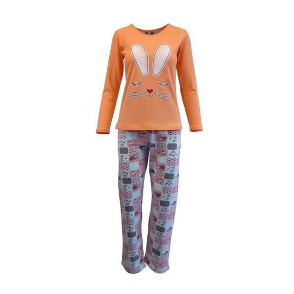 Pijama dama, Univers Fashion, bluza oranj cu imprimeu iepure, pantaloni turcoaz cu imprimeu iepurasi, S
