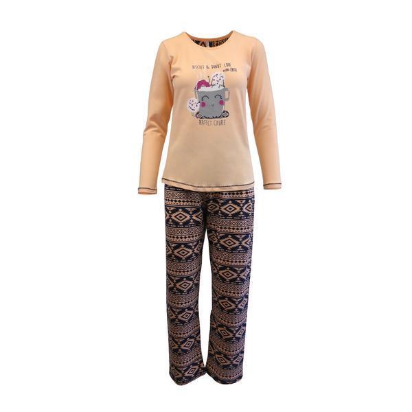Pijama dama, Univers Fashion, bluza roz somon cu imprimeu 'Perfect Couple', pantaloni albastru cu imprimeu etnic, L
