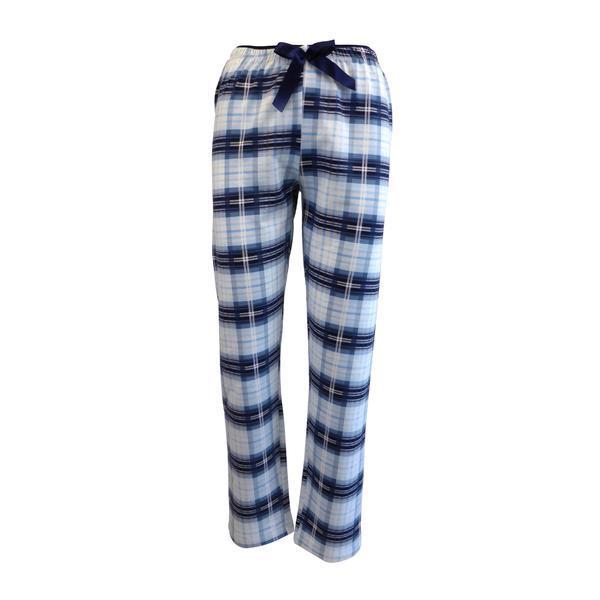 Pantaloni pijama dama, Univers Fashion, alb si albastru cu imprimeu carouri, L