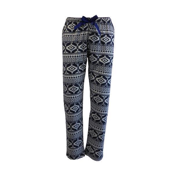 Pantaloni pijama dama, Univers Fashion, albastru cu imprimeu etnic gri deschis, 2XL