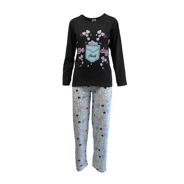 Pijama dama, Univers Fashion, bluza gri antracit cu imprimeu inimi, pantaloni turcoaz cu imprimeu inimi, 2XL