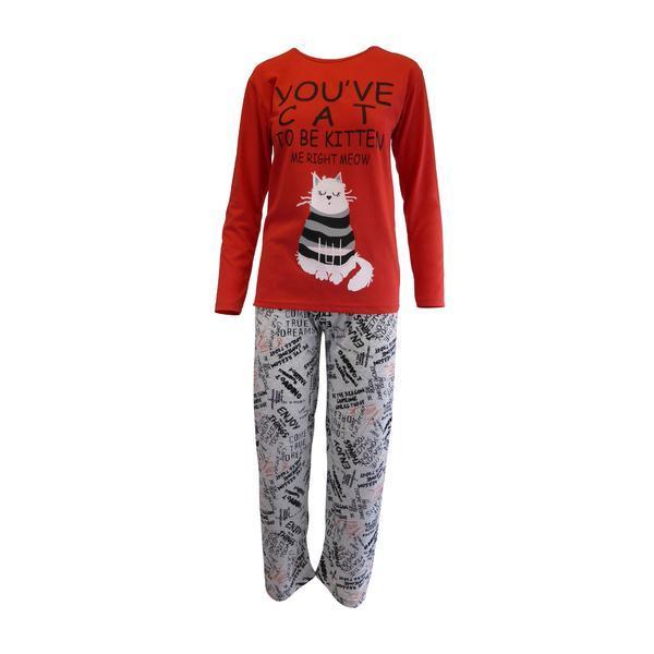 Pijama dama, Univers Fashion, bluza rosu cu imprimeu pisica, pantaloni gri cu imprimeu, L