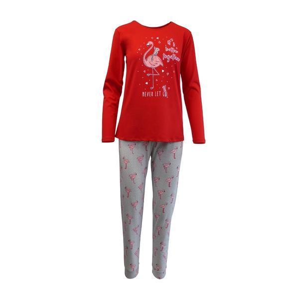 Pijama dama, Univers Fashion, bluza rosu si pantaloni gri cu imprimeu flamingo, S