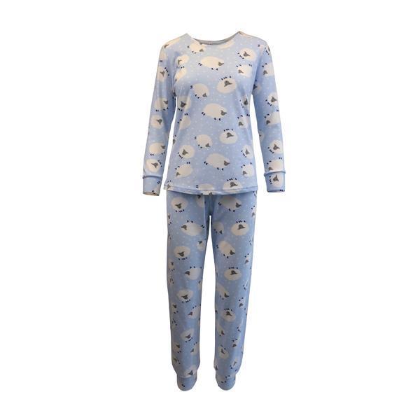 Pijama dama, Univers Fashion, bluza si pantaloni albastru deschis cu imprimeu oite, S