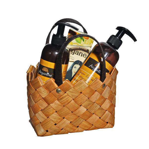 Set cadou poseta ratan ( Lotiune de corp Arganine 400 ml+Sapun lichid Arganine 400 ml+ Ulei argan pentru par/piele Valona 140 ml) imagine produs