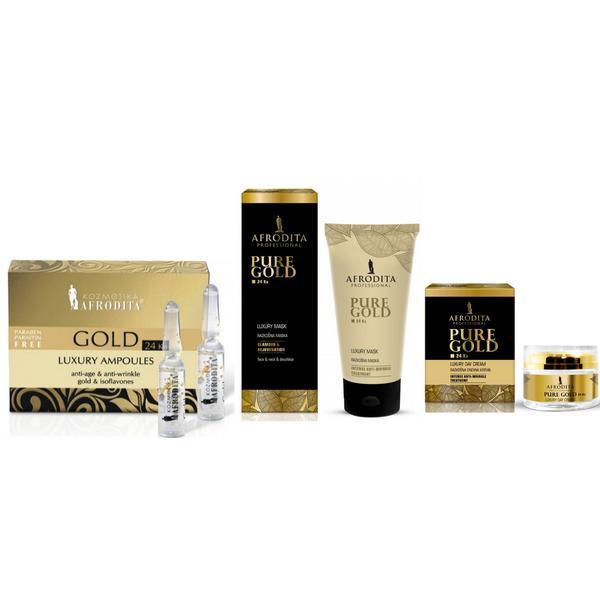 Pachet Hidratant pentru Ten Luxury Cosmetica Afrodita - Crema de zi LUXURY cu aur pur 50 ml; Fiole LUXURY cu aur pur 5 fiole a 1,5 ml; Masca intinerire LUXURY cu aur pur 150 ml pentru fata, gat si decolteu poza
