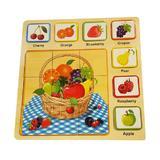Puzzle lemn 3D, 7 Fructe, 9 Piese, 35 x 35cm, lemn