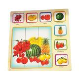Puzzle lemn 3D, 7 Fructe, 9 Piese din lemn, 35 x 35cm - Bebeu