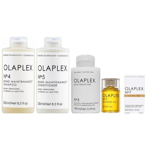 Pachet pentru Intretinerea Parului Olaplex - Sampon OLAPLEX No. 4, 250 ml; Balsam OLAPLEX No. 5, 250 ml; Tratament OLAPLEX No. 3, 100 ml; Ulei OLAPLEX No. 7, 30 ml poza