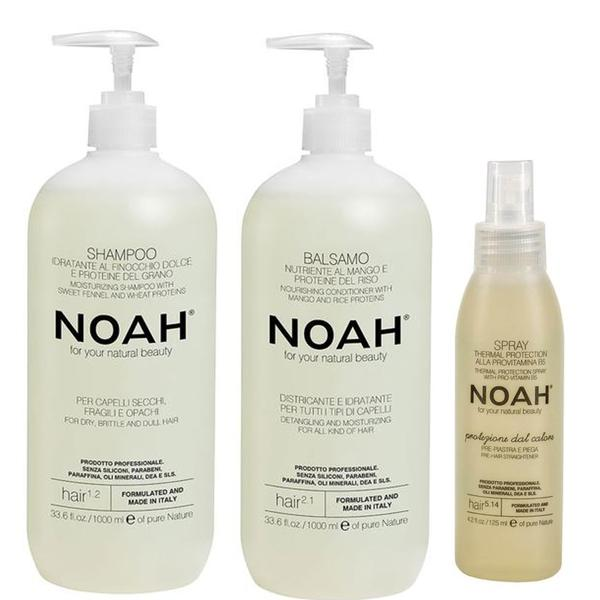Pachet Hidratant pentru Par Noah - Sampon Natural Hidratant, 1000ml; Balsam Natural Nutritiv si Hidratant, 1000ml; Spray Protectie Termica cu Provitamina B5 5.14, 125ml