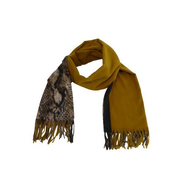 Fular 170 cm x 68 cm, cu imprimeu, galben mustar – Univers Fashion