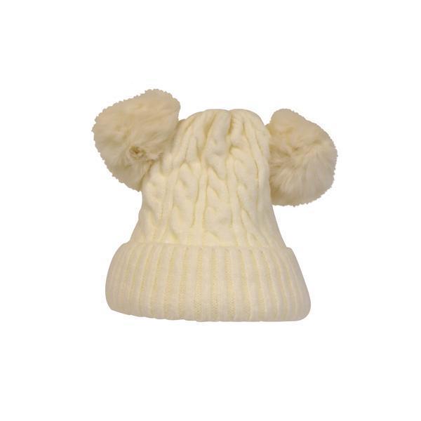 Caciula dama, groasa tricotata, cu 2 ciucuri de blana sintetica, crem, marime universala – Univers Fashion