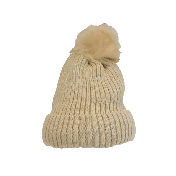 Caciula dama, groasa tricotata, cu ciucure de blana sintetica, crem, marime universala – Univers Fashion