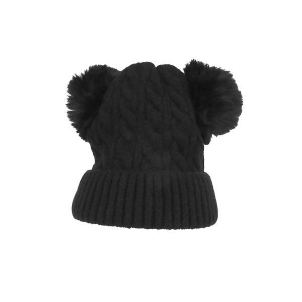 Caciula dama, groasa tricotata, cu 2 ciucuri de blana sintetica, negru, marime universala – Univers Fashion